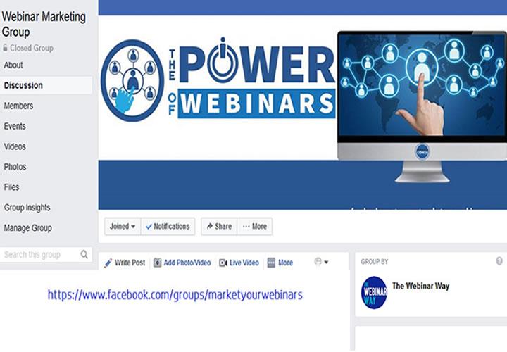 Webinar Marketing Group Facebook The Webinar Way Sherrie Rose https://www.facebook.com/groups/marketyourwebinars
